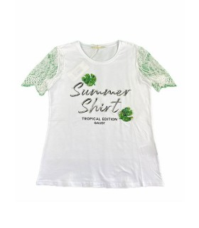 T-shirt donna Gaudì in cotone e pizzo
