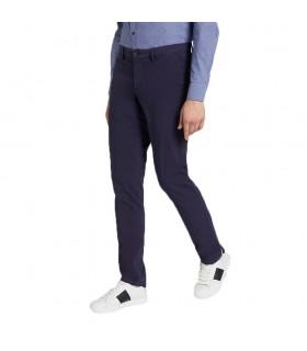 Pantaloni Uomo Trussardi Aviator Fit in Garment Dyed con Patch Colori Blu e Grigio - 52P00000-1T002638