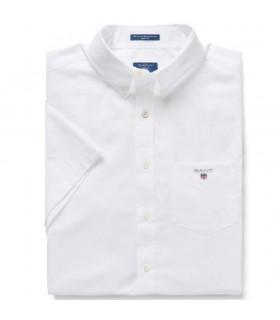 Camicia Uomo Gant in Popeline a Maniche Corte Colore Bianco e Celeste - 3046401