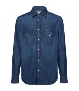 Camicia Di Jeans Uomo Calvin Klein Colore Denim - J30J314392