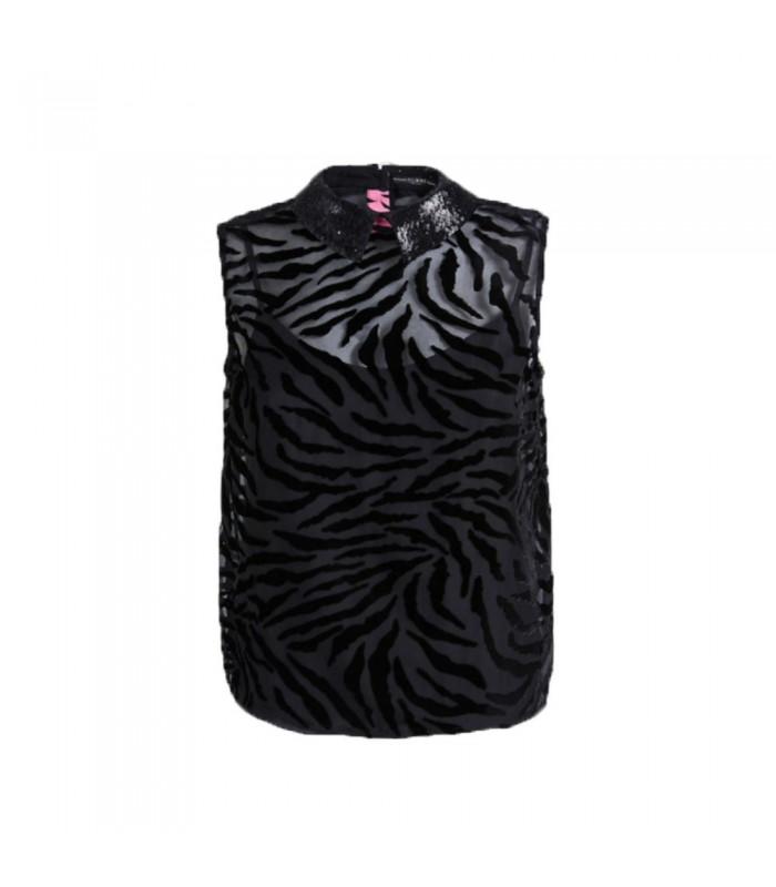 Top Donna Guess Zebrato Colore Nero - W01H91WCM20JBLK