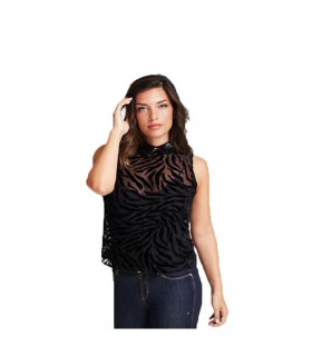 Top Donna Guess Zebrato Colore Nero - W01H91WCM20JBLK