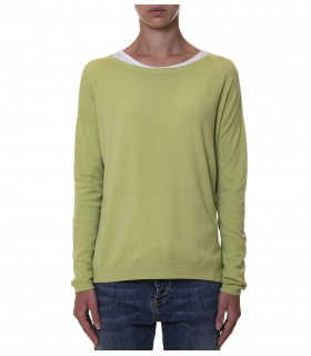 Crewneck sweater with side slits